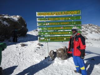 At the peak of Mt Kilimanjaro